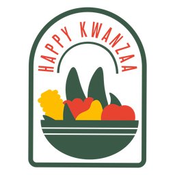 Kwanzaa badges fruits lettering