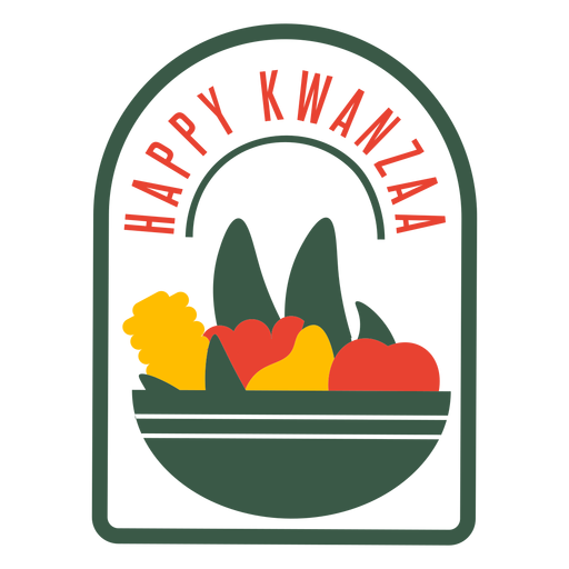 Kwanzaa badges fruits lettering Transparent PNG