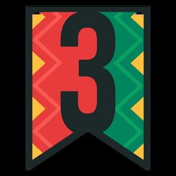 Números de bandeira Kwanzaa três
