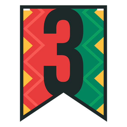 Kwanzaa banner numbers three Transparent PNG