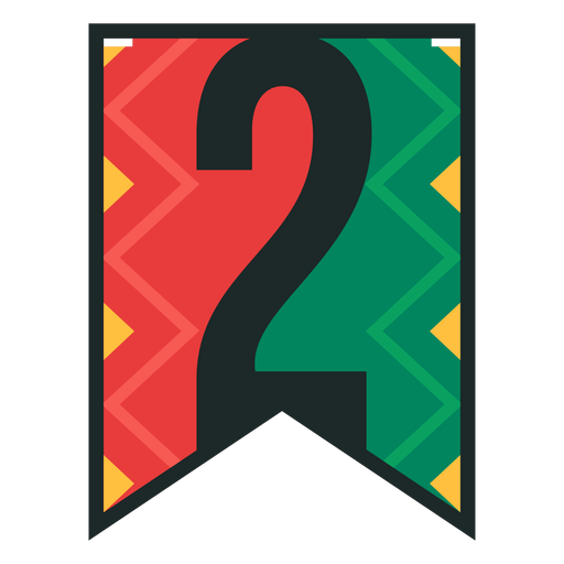 Kwanzaa banner numbers two Transparent PNG