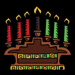Kwanzaa velas color dibujado a mano