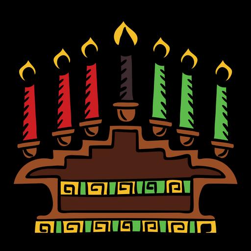 Kwanzaa velas color dibujado a mano Transparent PNG
