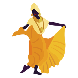 Kwanzaa character dancing woman yellow