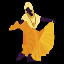 Kwanzaa personaje bailando mujer amarillo