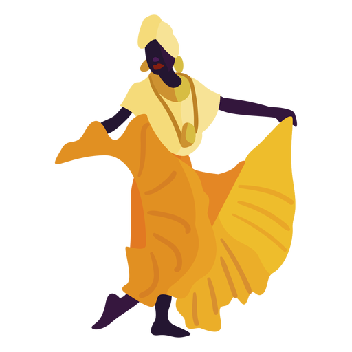 Kwanzaa personaje bailando mujer amarilla Transparent PNG