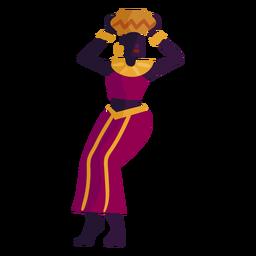 Mujer de personaje de Kwanzaa con maceta