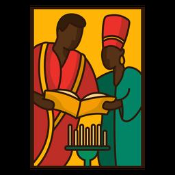 Leitura de família de ilustração Kwanzaa