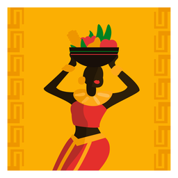 Kwanzaa illustration woman with fruit bawl
