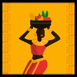 Kwanzaa, ilustración, mujer, con, fruta, gritar