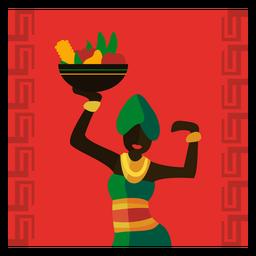 Kwanzaa, ilustración, mujer, con, fruta, gritar, bailando