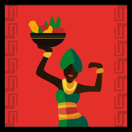 Kwanzaa, ilustración, mujer, con, fruta, gritar, bailando Transparent PNG