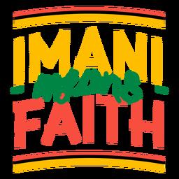 Kwanzaa lettering imani means faith