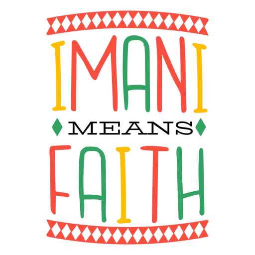 Kwanzaa lettering imani means faith rhombus Transparent PNG
