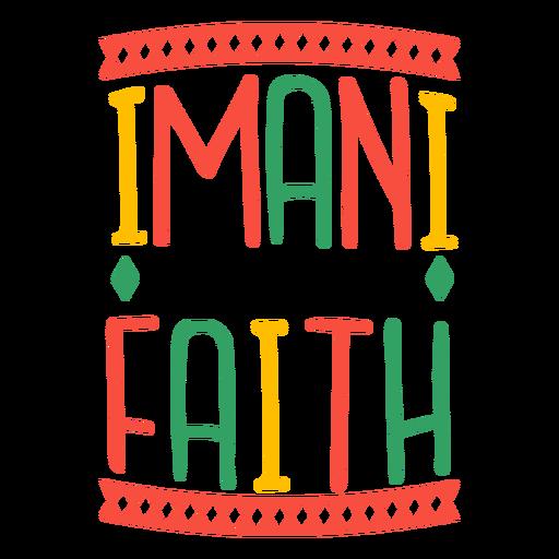 Kwanzaa lettering imani means faith rhombus
