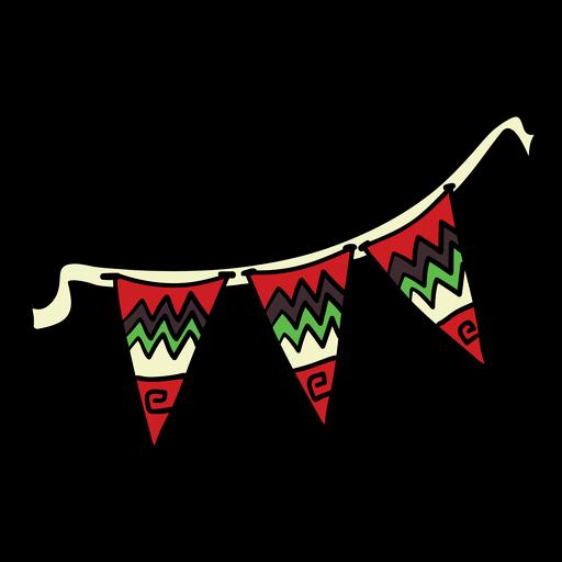 Banderines de Kwanzaa color dibujado a mano.