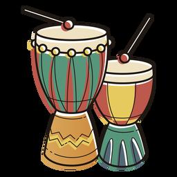 Kwanzaa símbolos tambores color trazo