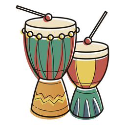 Kwanzaa symbols drums color stroke