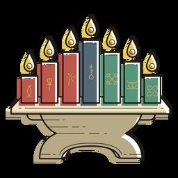 Kwanzaa Symbole Leuchter Farbstrich
