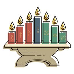 Kwanzaa symbols lampstand color stroke