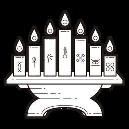 Kwanzaa symbols lampstand stroke