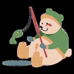 Inverno personagem animal urso pesca cor