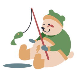 Winter animal character bear fishing color