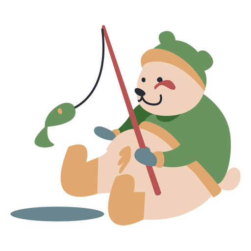 Winter animal character bear fishing color Transparent PNG