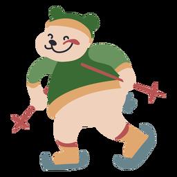 Personagem de inverno animal urso esqui cor