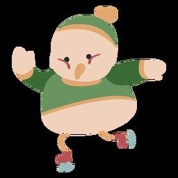 Invierno animal carácter pájaro patines color