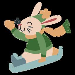 Invierno personaje animal conejito trineo color