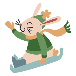 Winter animal character bunny sleigh color