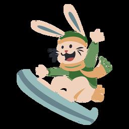 Inverno animal personagem coelho snowboard cor