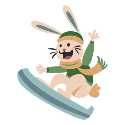 Winter animal character bunny snowboard color