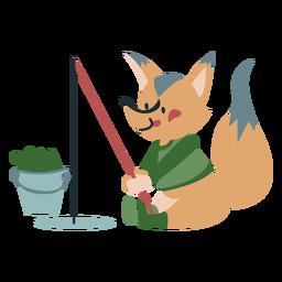 Invierno animal carácter zorro pesca color