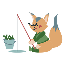 Winter animal character fox fishing color