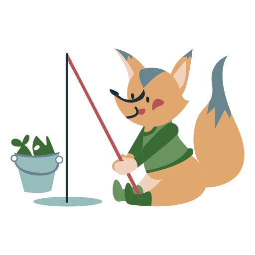 Winter animal character fox fishing color Transparent PNG