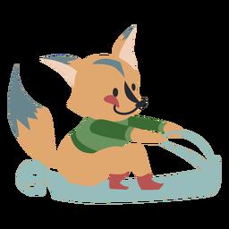 Invierno carácter animal fox trineo color