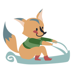 Winter Tier Charakter Fuchs Schlitten Farbe