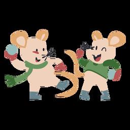 Ratones de carácter animal de invierno juegan bolas de nieve color