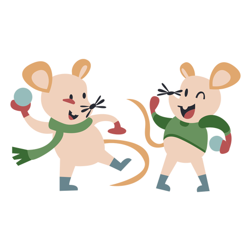 Winter animal character mice play snowballs color