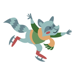 Invierno personaje animal mapache patines color