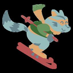Color de esquí de invierno animal personaje mapache