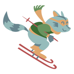 Winter animal character raccoon skiing color