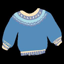Suéter azul de invierno plano