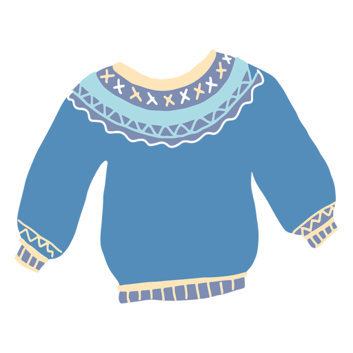 Winter blue sweater flat Transparent PNG