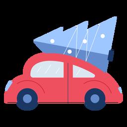 Plano de árbol de navidad de coche de invierno