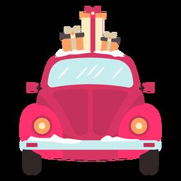Vista frontal del coche de invierno rojo presenta