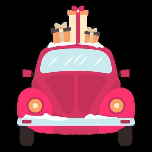 Vista frontal del coche de invierno rojo presenta Transparent PNG