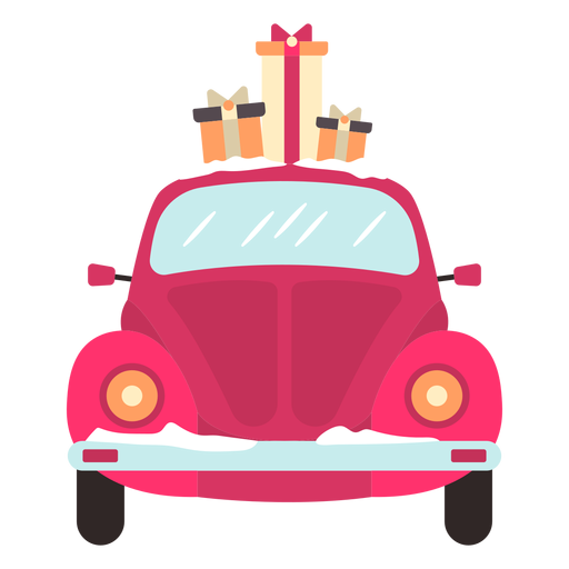 Winter car front view red presents Transparent PNG